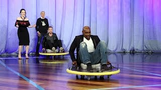 Ellen Plays 'Celebrity Shuffleboard' with Kat Dennings, Ryan Tedder and Morris Chestnut