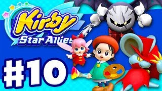 Kirby Star Allies - Gameplay Walkthrough Part 10 - Adeleine & Ribbon, Dark Meta Knight, and Daroach!
