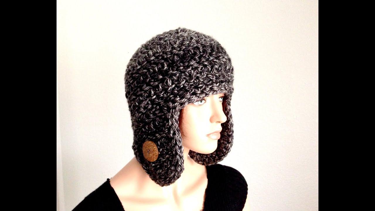 Tutorial: How to Crochet an Earflap Winter Beanie - YouTube