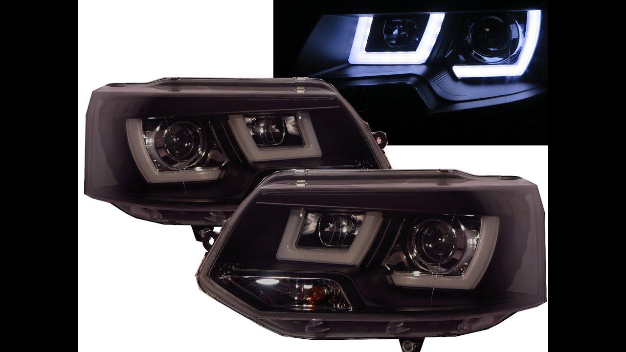 Transporter T5 2011-2015 3D LED Bar Stripe DRL Projector Headlight BLACK for VW VOLKSWAGEN - YouTube