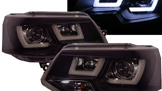 Transporter T5 2011-2015 3D LED Bar Stripe DRL Projector Headlight BLACK for VW VOLKSWAGEN