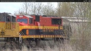 Kansas City Southern loco on train stranded west of Grand Junction, Iowa derailment