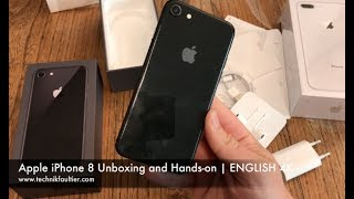 Apple iPhone 8 Black Unboxing and Hands-on   ENGLISH 4K