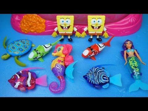 엔젤피쉬 로봇피쉬 인어공주 공주해마 꼬마거북이 스폰지밥 물놀이 목욕놀이 장난감 Zuru Robofish Angelfish Toys