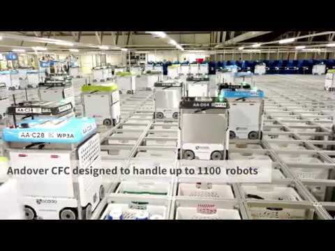 Watch thousands of robots pack groceries in a warehouse