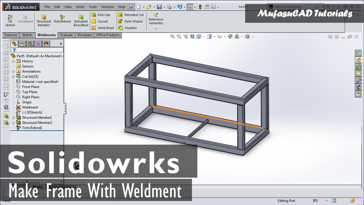 Solidworks Weldment Tutorial Making Table Frame (Basic) - YouTube