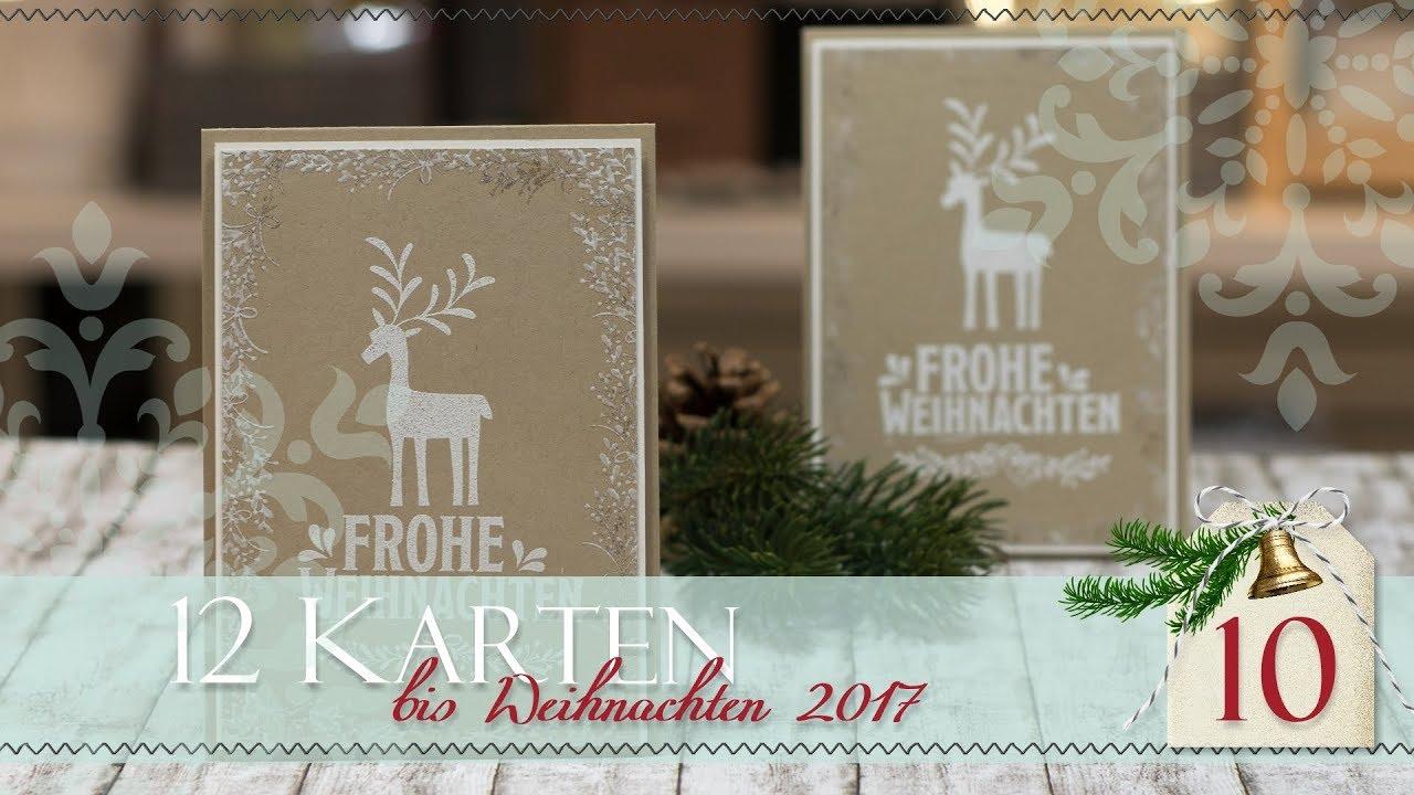 12 Karten Bis Weihnachten 2017 10 Unterm Mistelzweig Embosst Stampin Up