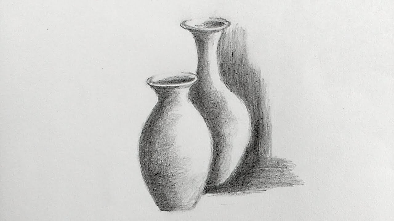 How to draw pot for beginners step by step/still life with ...