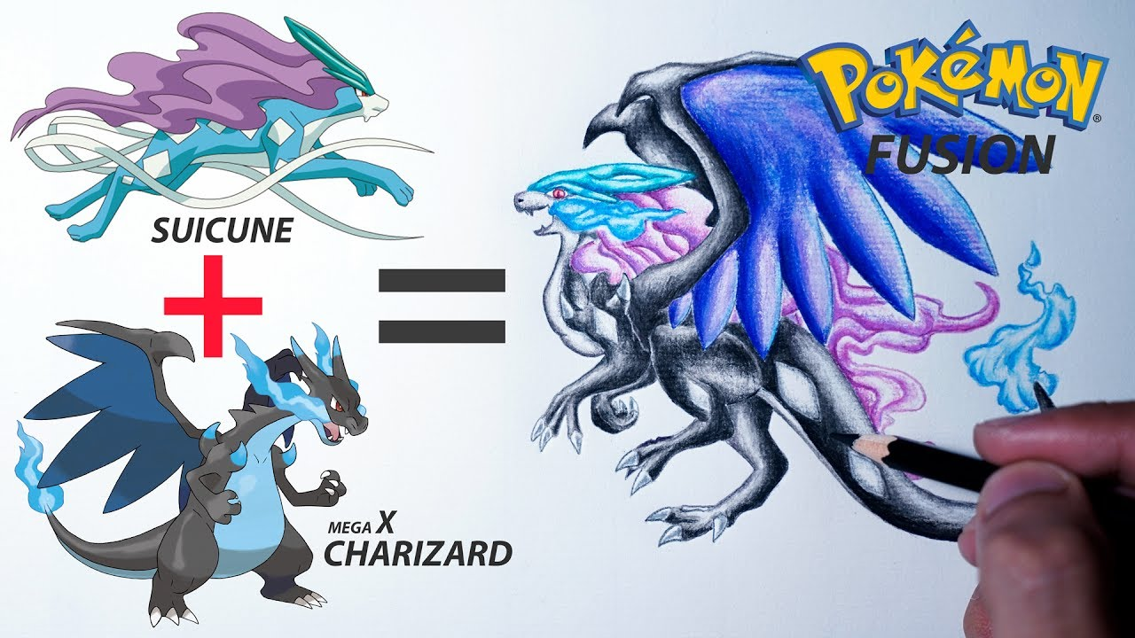 Suicune Mega Charizard X Pokemon Fusion Drawing 18