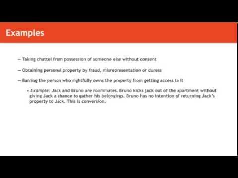Torts Lecture Examples Of Trespass And Conversion Of Chattel