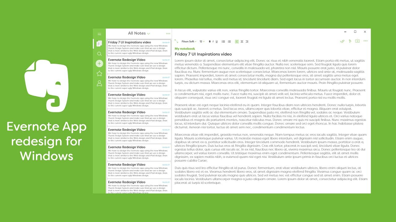 Image result for evernote ui concept