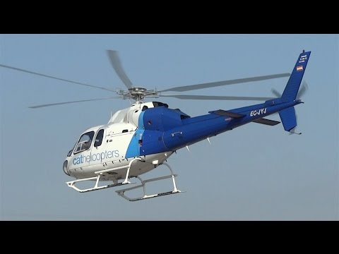 Landings and Takeoff helicopter from the Port of Barcelona