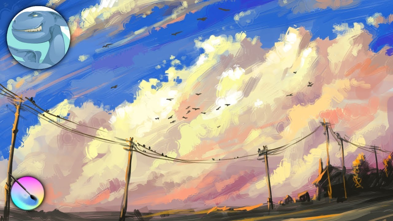 Сloudscape. Speed painting with Krita. - YouTube