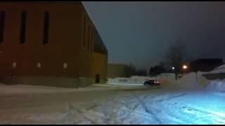 Snow drift hitting the snow bank