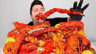 Massive King Crab Legs Seafood Boil • MUKBANG
