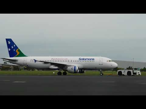 Solomon's Airlines Airbus A320CEO on pushback and tow