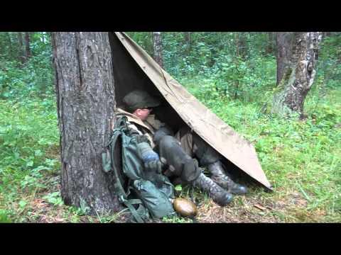 [РВ] Быстрое укрытие от дождя в лесу из плащ-палатки