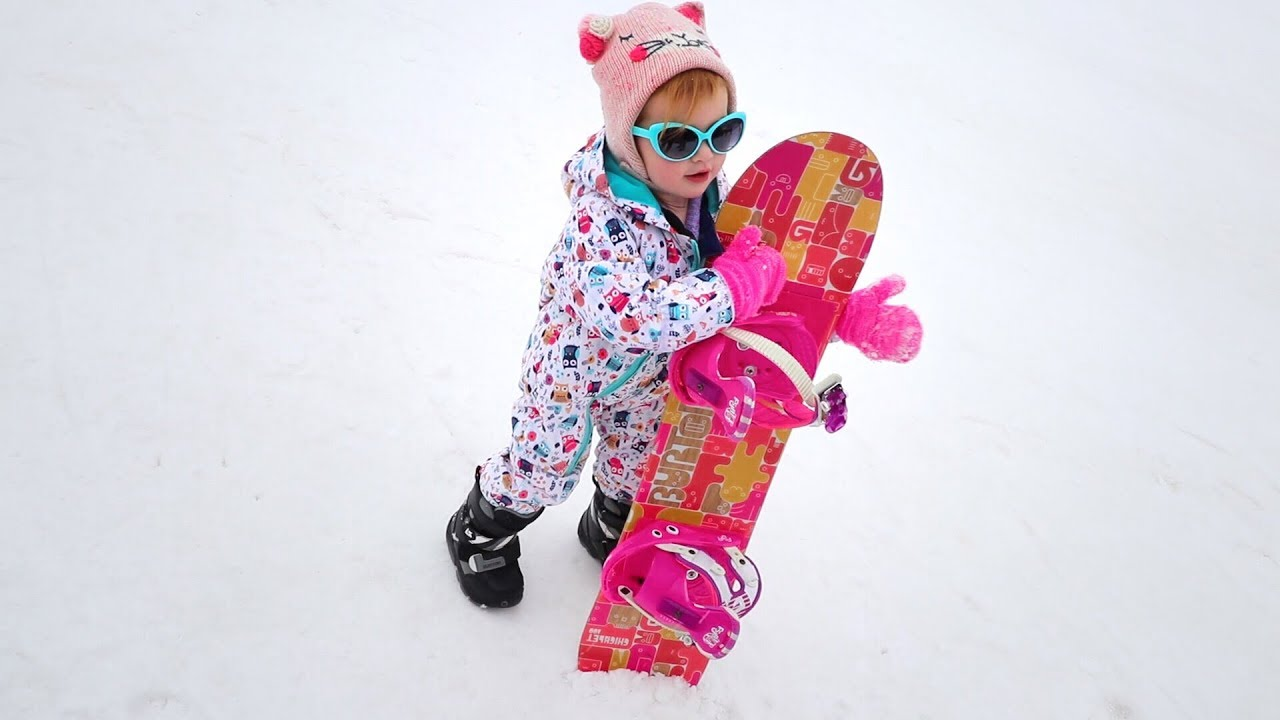 Adley Snowboarding for the FIRST TIME!! dont fall the snow is lava!