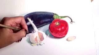 Как написать овощи акварелью