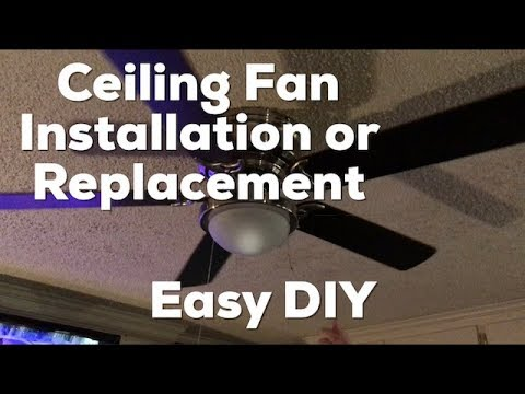 Ceiling fan installation or replacement how to diy easy youtube ceiling fan installation or replacement how to diy easy aloadofball Choice Image