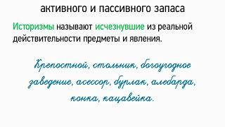 Лексика русского языка с точки зрения активного и пассивного запаса (5 класс, видеоурок-презентация)
