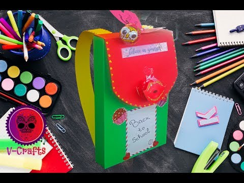 DIY Paper Backpack Gift Box Tutorial - Back to school ideas V-Craft 2019