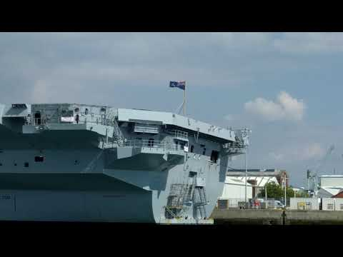 HMS Queen Elizabeth warship Portsmouth harbour September 2017