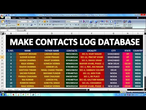 Lesson - 01 || Data Entry Training For Job Make Contacts Log Database In Excel For Beginners ||