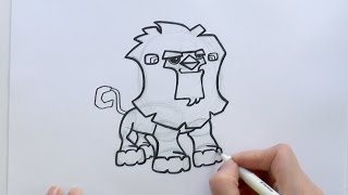 How to Draw a Cartoon Lion From Animal Jam - zooshii Style