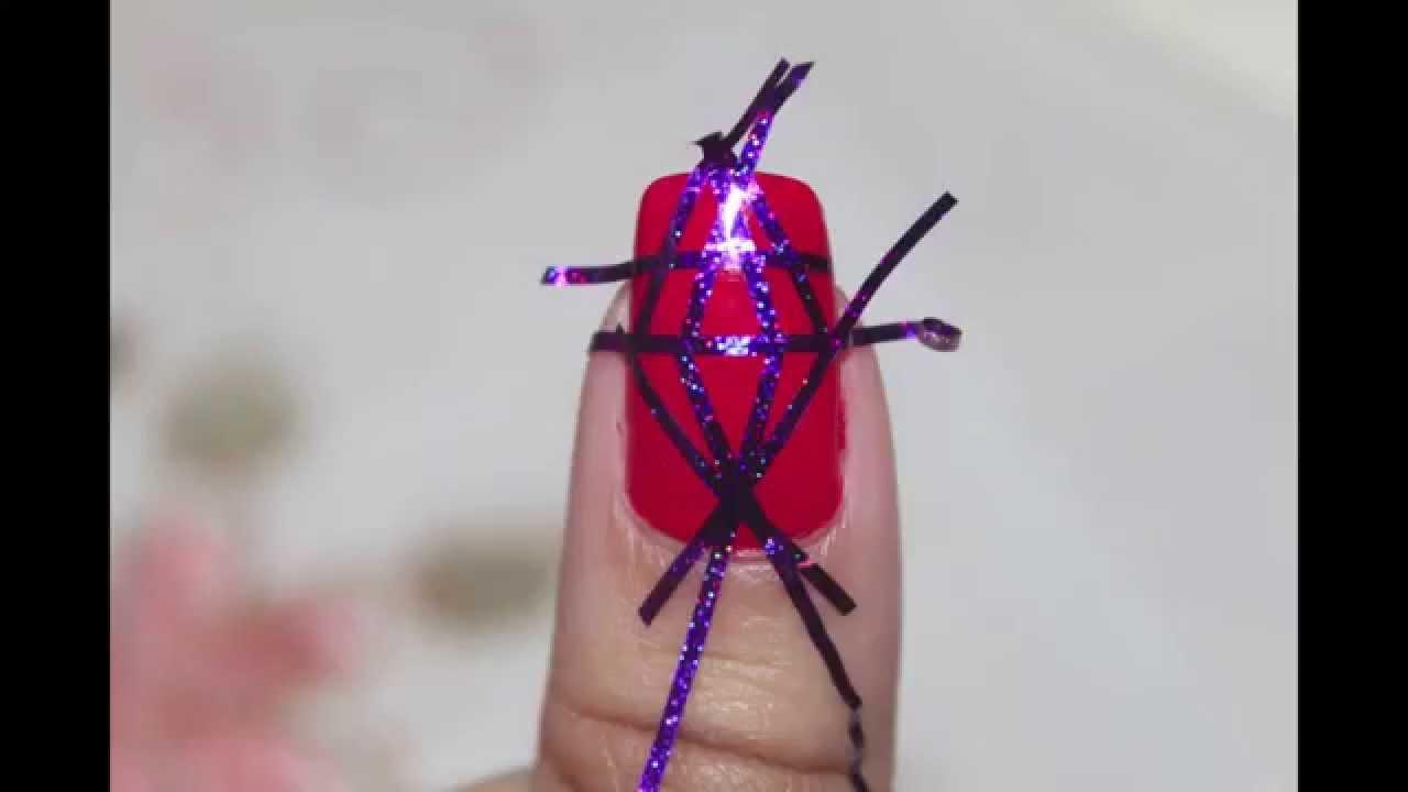 Tape nail art tutorial - YouTube