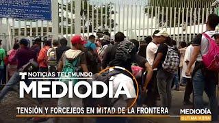 Momentos de tensión después de que la caravana de hondureños forzara su entrada a México | Noticiero
