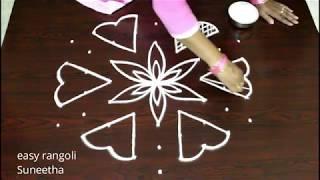 Beautiful designs || Easy rangoli muggulu || simple kolam with 9 dots || latest rangoli patterns