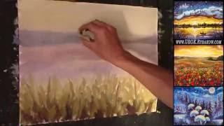 Как нарисовать цветочный пейзаж - Рисуем Поляна нежных цветов маслом!