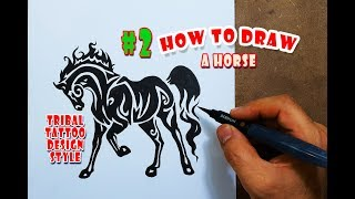 How to Draw a Horse - Tribal Tattoo Design Style Amazing #2