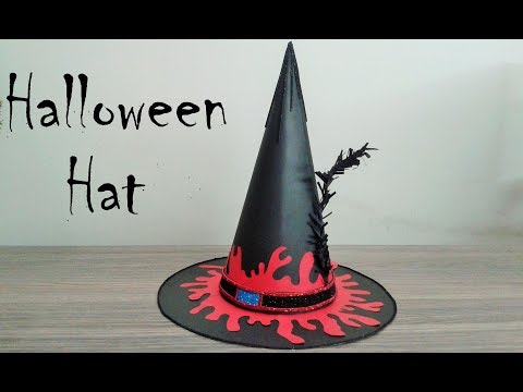 How to make Halloween Hat, DIY Witch Hat/ Halloween Crafts