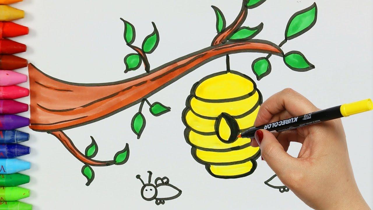 كيفية رسم النحل وخلايا بي تلوين الصفحات تعلم التلوين كيفية رسم ولون الاطفال التلفزيون Youtube