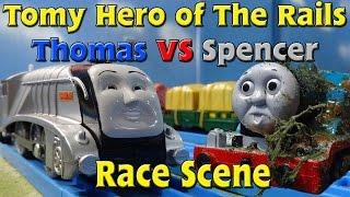 Tomy Hero Rails Thomas Vs Spencer Race Scene