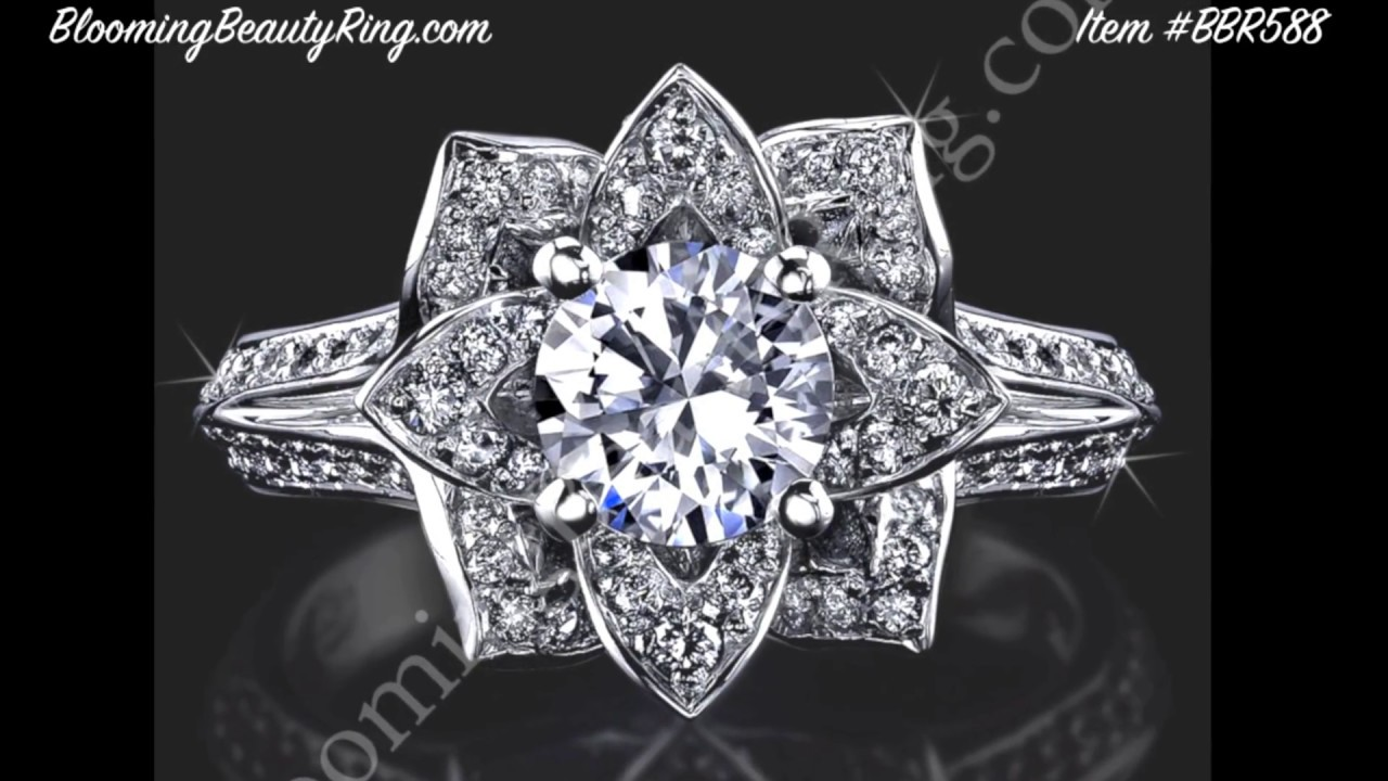 unique anniversary or engagement ring by bloomingbeautyringcom youtube - Lotus Wedding Ring