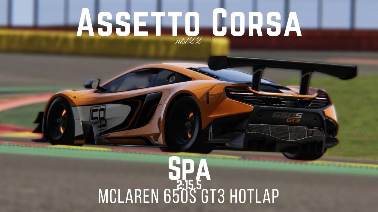 assetto corsa | mclaren 650s gt3 @spa | 2:15:5 +setup - youtube