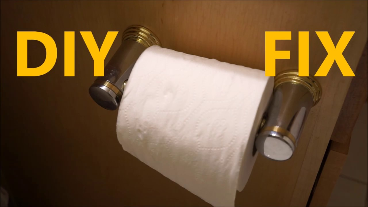 easy diy fix loose toilet paper holder how to repair youtube. Black Bedroom Furniture Sets. Home Design Ideas