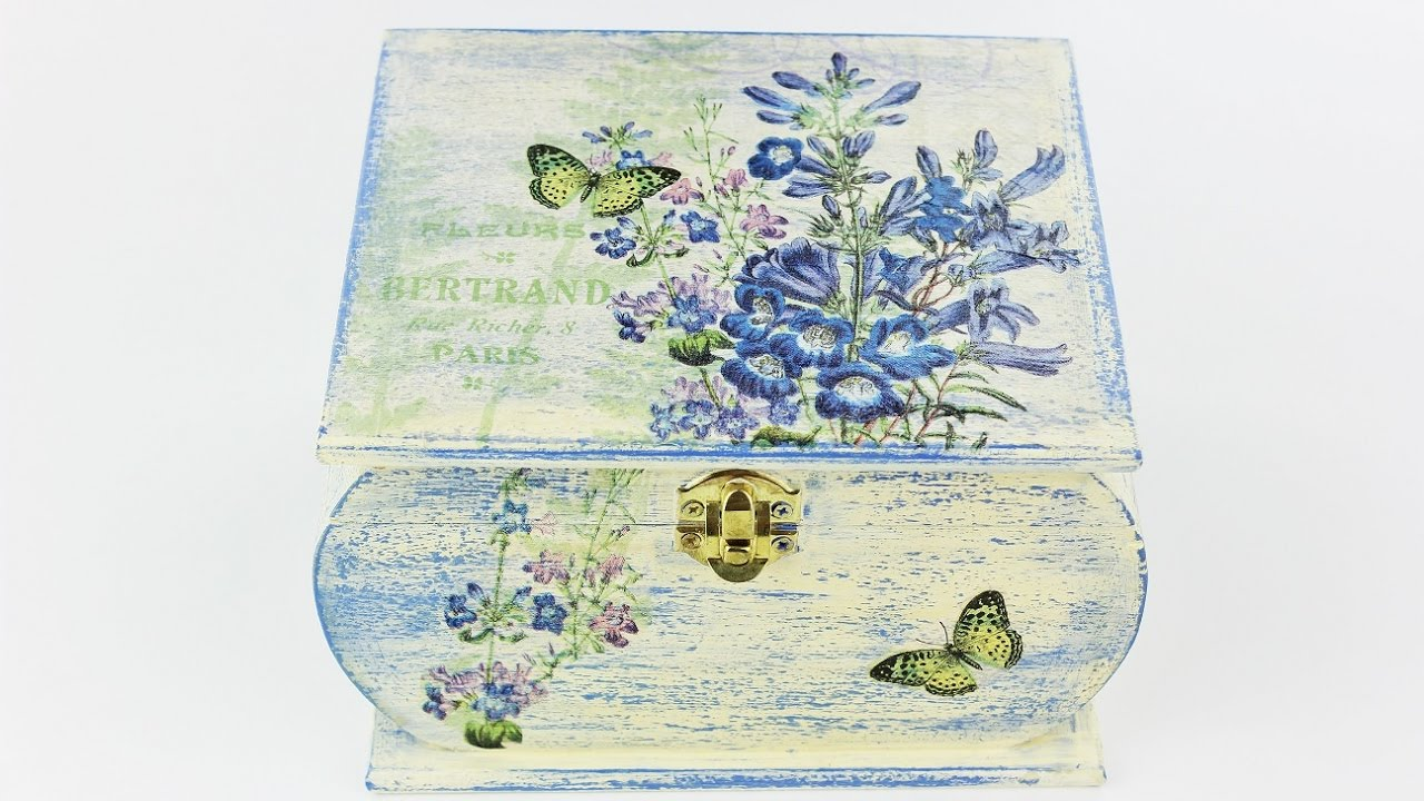 Decoupage wooden box , Painted box , , Decoupage tutorial , Decoupage for  beginners