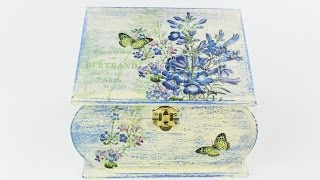 Decoupage wooden box - Painted box -  - Decoupage tutorial - Decoupage for beginners