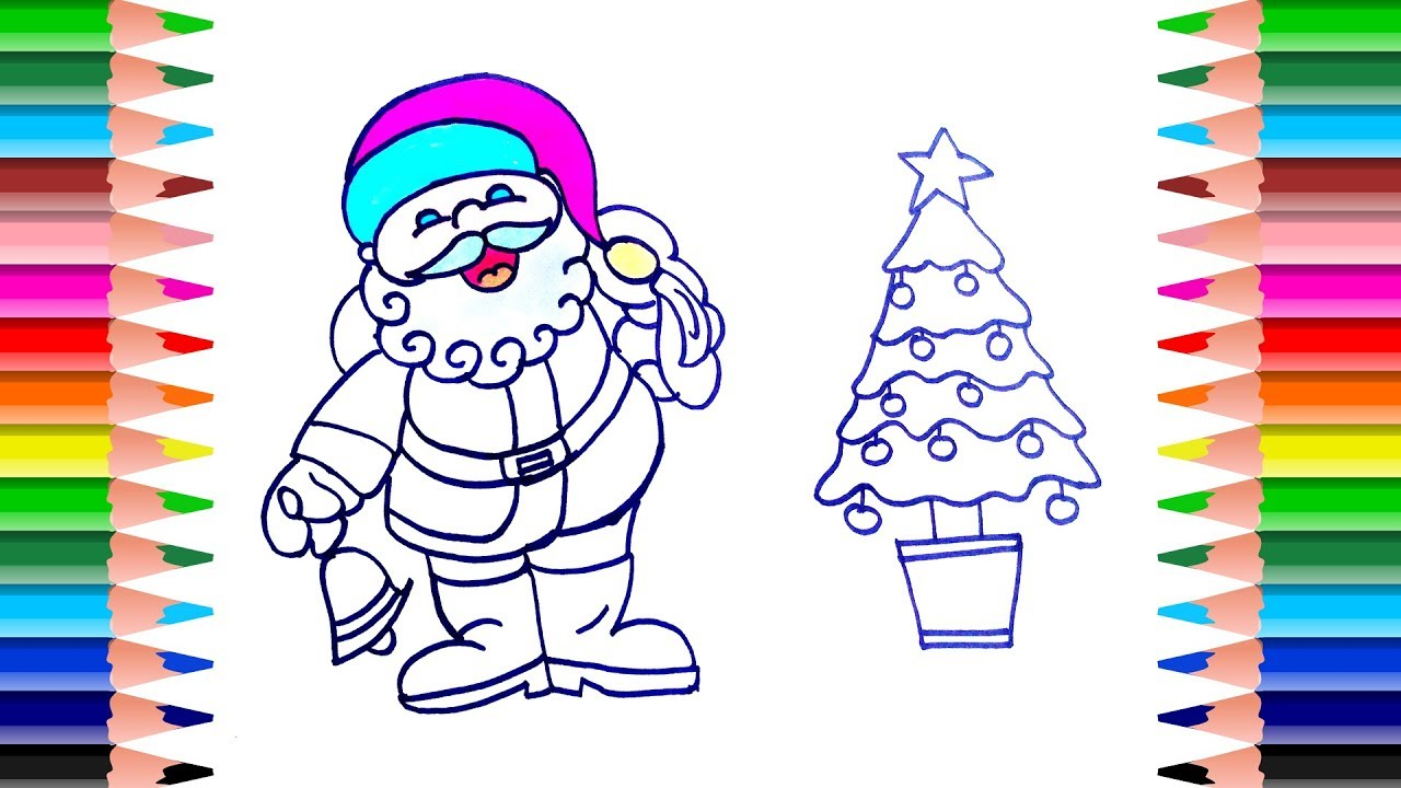 christmas coloring pages how to draw santa claus and christmas tree coloring for kids