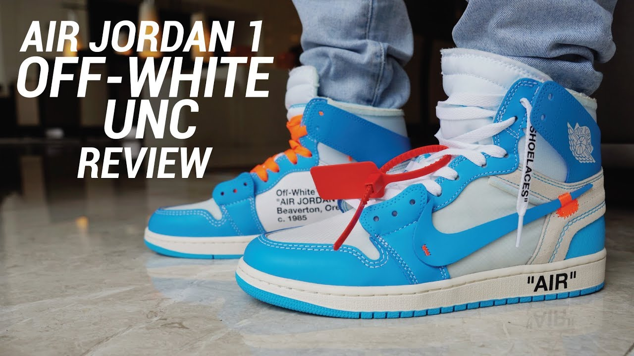 053f87b4d127 OFF WHITE AIR JORDAN 1 UNC REVIEW - YouTube