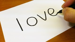 Very Easy ! How to turn words LOVE into a Cartoon for kids -  Drawing doodle art on paper