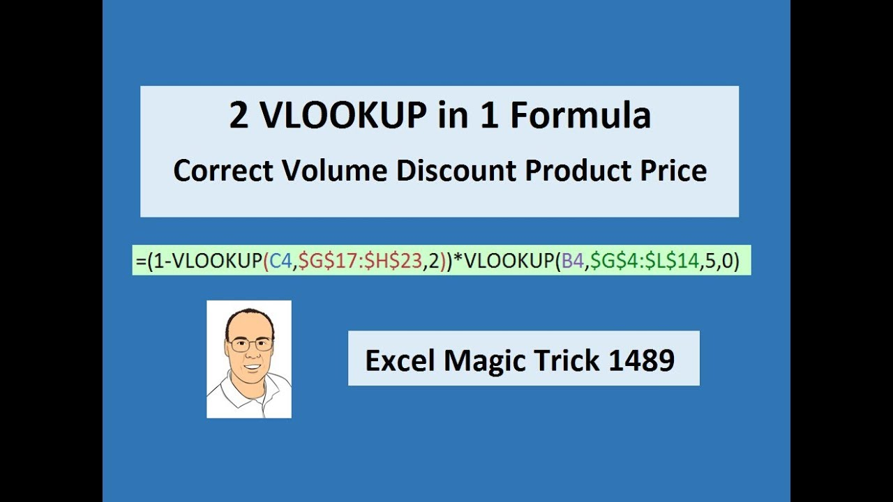Download Excel Magic Trick 1489: 2 VLOOKUP in 1 Formula: Lookup Correct Volume Discount Product Price
