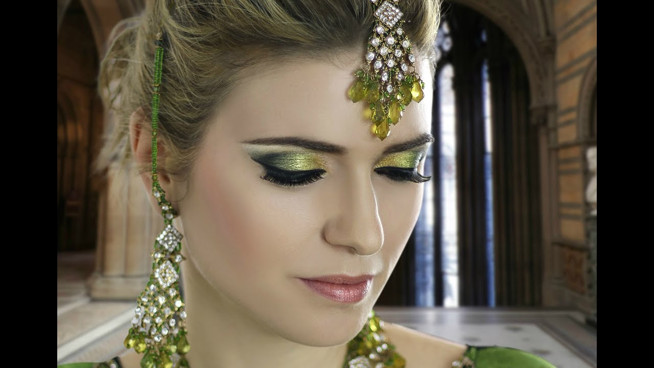 Asian Mehndi Party : Emerald green mehndi smokey eye bridal makeup tutorial traditional