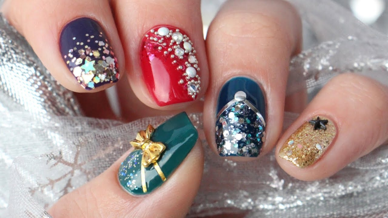 5 New Year's Eve Nail Art Design Ideas! - YouTube