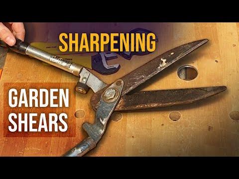 Sharpening Garden Shears with a Whetstone