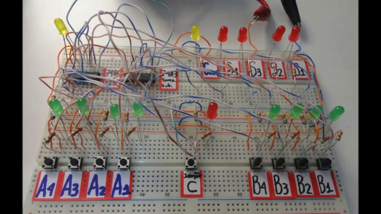 Circuito Eletronica : Laboratório eletrônica digital circuito somador e